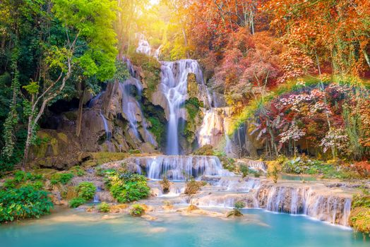 Autumn, Tat Kuang Si Waterfalls, Laos, autumn, waterfall, cascade, waterfalls, rock, water, forest, trees, landscape