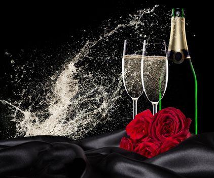 Valentine's Day, Valentine's Day, Happy Valentine's Day, Happy Valentines Day, Valentine, Valentine, romance, wine, stemware, roses