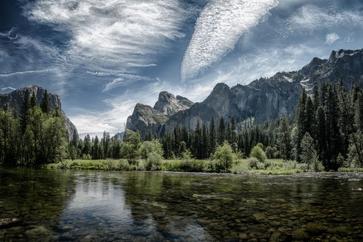 Yosemite National Park, Yosemite National Park, California, USA, River, forest, the mountains, trees, landscape