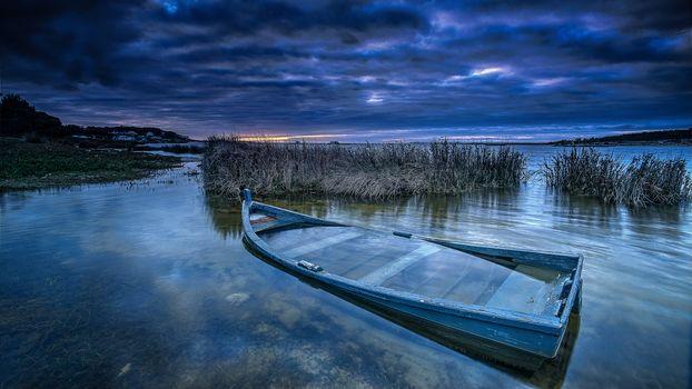 lake, sunset, a boat, landscape