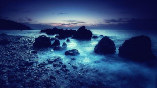 Portinyo to Arrabida, beach, Portugal, sunset, Coast, stones, landscape