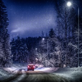 winter, snow, road, night, forest, trees, landscape