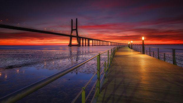 bridge, Lisbon, Portugal, sea, sunset, landscape
