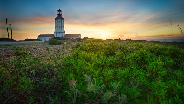 Lighthouse of Espichel Cape, Sesimbra, Lisbon, Cape Espishel, Sezimbre, Lisbon, sunset, lighthouse, landscape