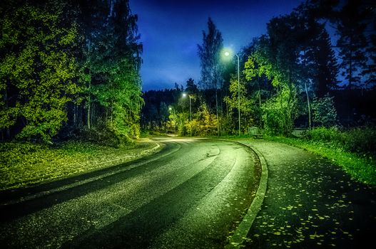 night, road, autumn, lights, forest, trees, landscape