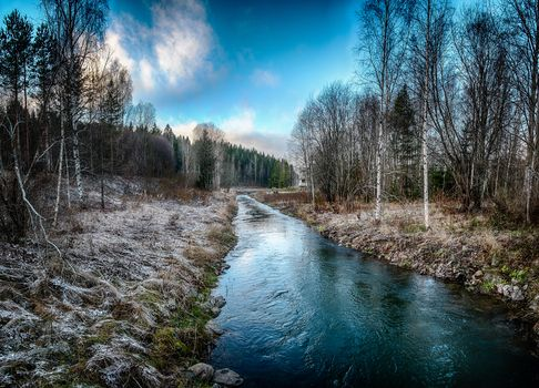 forest, trees, small river, River, flow, frost, landscape