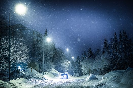winter, snow, road, night, shine, lights, landscape
