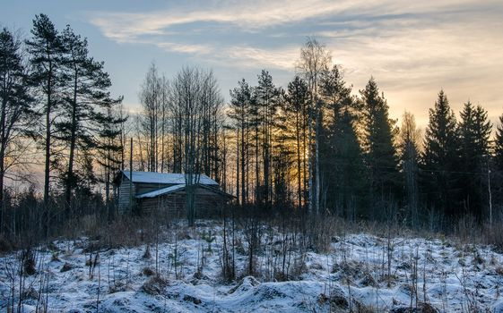 sunset, winter, forest, trees, lodge, landscape