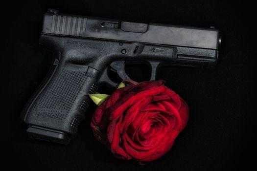 Combat pistol Glock, Glock, rose flower, weapon