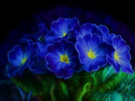 цветы, букет, примула, флора, Изобразительное искусство