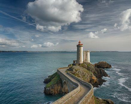 The lighthouse Phare du Petit Mina, France, sea, lighthouse, rock, sky, clouds, landscape