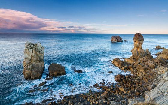 Cantabria, sea, waves, rock, Coast, landscape