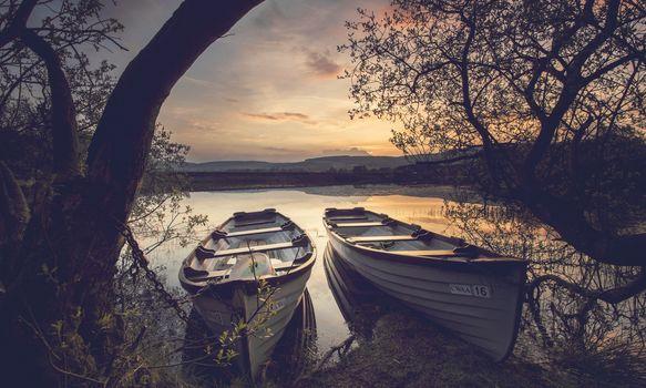 sunset, lake, boats, trees, landscape