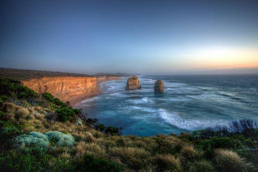 sunset, sea, rock, Coast, landscape, Australia