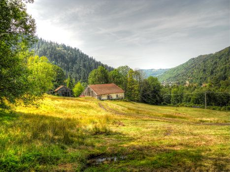 field, lodge, road, trees, the mountains, landscape