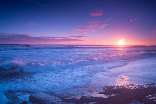 seascape, North Sea, Derbyshire, North East England, sunset, sea, waves, Coast, landscape