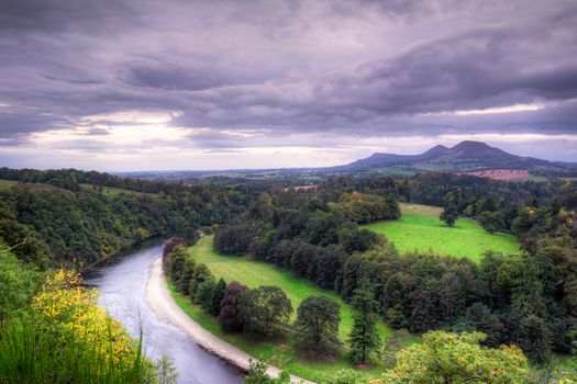 Scottish borders, United Kingdom, River, fields, the mountains, trees, landscape