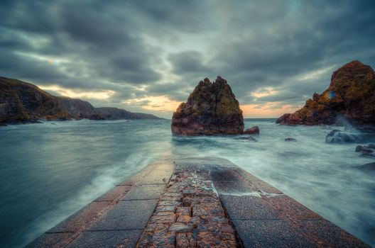 seascape, Scottish borders, Beruikşir, North Sea, Scotland, United Kingdom, sunset, sea, rock, landscape