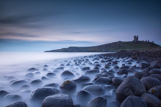 Dunstanburgh castle, Derbyshire, United Kingdom, sea, Coast, stones, landscape