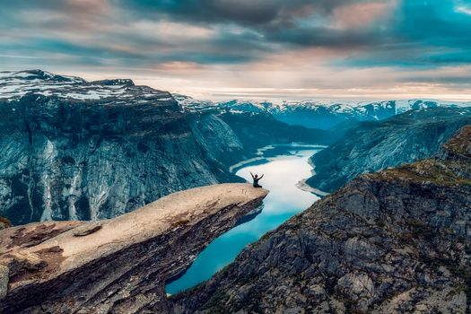 trolltunga, rock Trolltunga, Norway, the mountains, rock, River, sunset, landscape