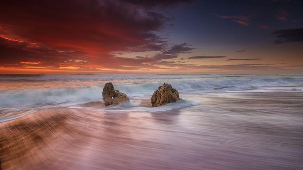 beach, waterspouts, Portugal, sea, waves, sunset, Coast, landscape