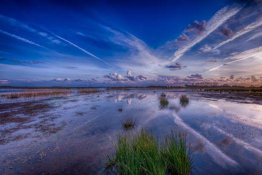 sunset, water, sky, clouds, landscape