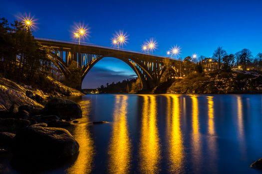 naka, Sweden, sunset, bridge, River, landscape