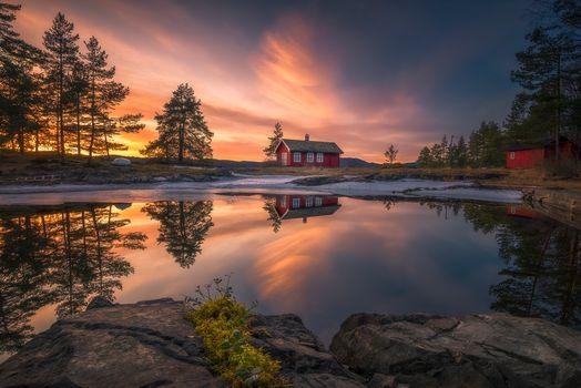 Sunset, Ringerike, Norway, sunset, winter, lake, rock, lodge, trees, landscape