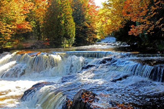 autumn, forest, trees, River, waterfall, nature