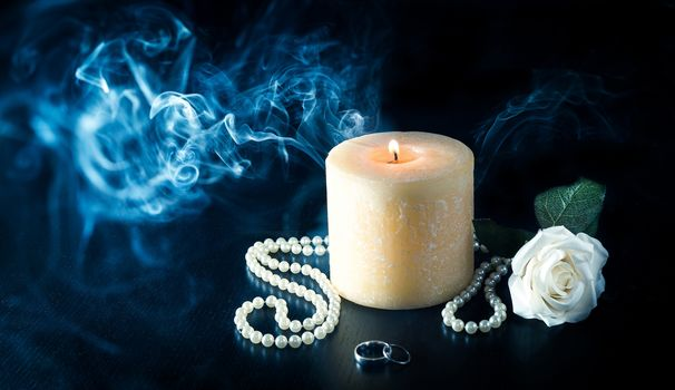 candle, smoke, bead, rose flower, still life