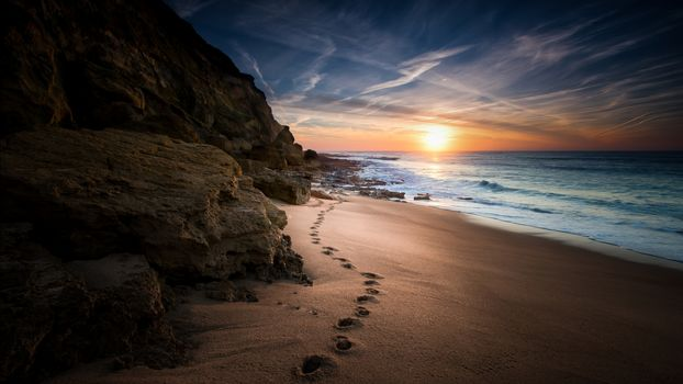 sunset, sea, Coast, footprints, beach, landscape