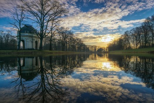 Big garden, Xerrxauzen, Hanover, Germany, sunset, water, trees, park, landscape