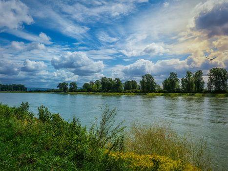 River, trees, sky, clouds, landscape