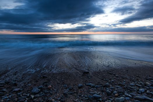 sunset, sea, waves, Coast, stones, beach, landscape