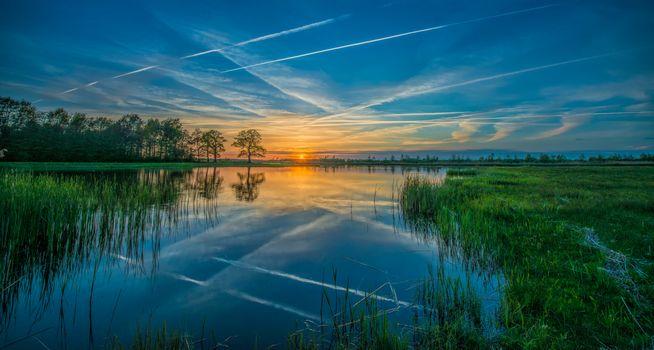 sunset, River, trees, sky, landscape