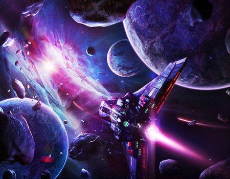 space, universe, planet, stars, constellation, glow, weightlessness, vacuum, galaxy, meteoritы, asteroids, art