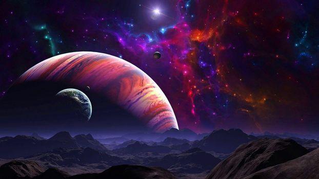 space, universe, planet, stars, constellation, glow, weightlessness, vacuum, galaxy, art
