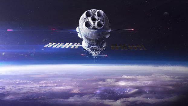 space, satellite, glow, weightlessness, vacuum, galaxy, art