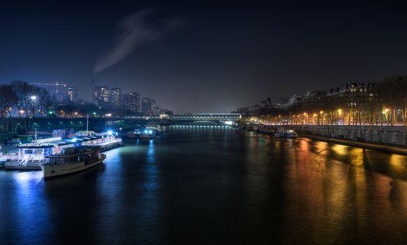 Франция, ночь, Париж, Сена