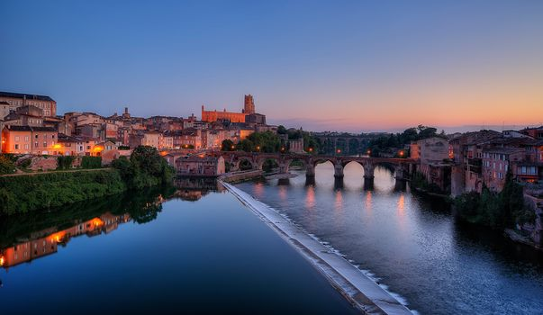 River Tarn, the old town of Albi, France, sunset, landscape