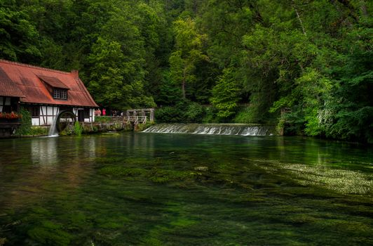 Blautopf, the source of the river Blau in Southern Germany, located in Blaubeuren