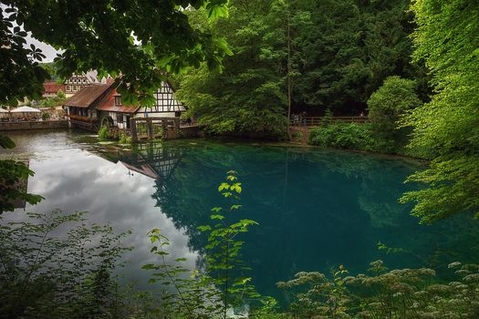 Blatopf, the source of the river Blau in Southern Germany, located in Blaubeuren