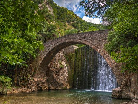 the mountains, River, trees, bridge, dam, landscape