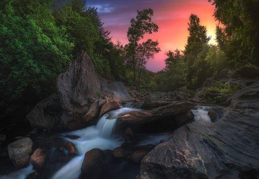 sunset, small river, Creek, waterfall, rock, trees, landscape