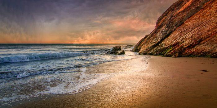 sunset, sea, Coast, rock, beach, waves, landscape