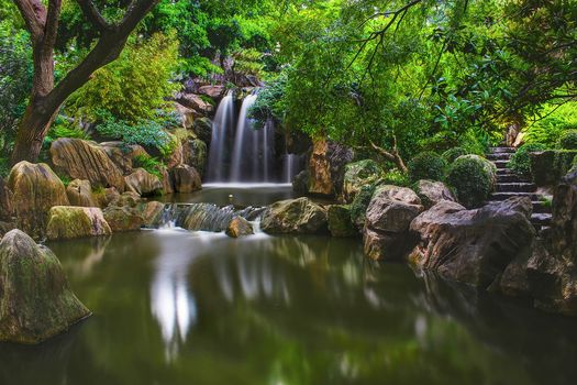 park, waterfall, water, stones, steps, trees, Chinese Garden, Sydney, landscape