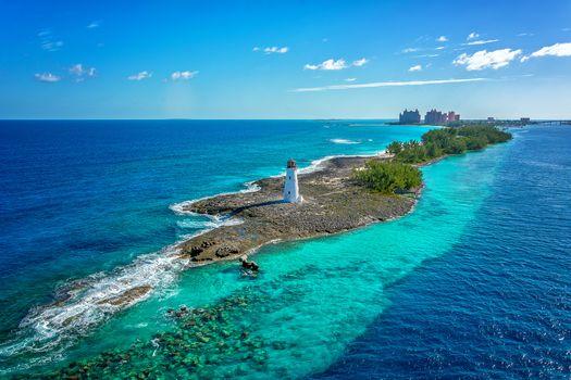 Bahamas, sea, lighthouse, landscape