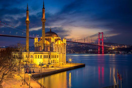 Ortakoy Mosque, Istanbul, night