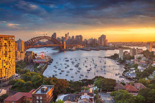 Sydney, Australia, urban landscape, sunset