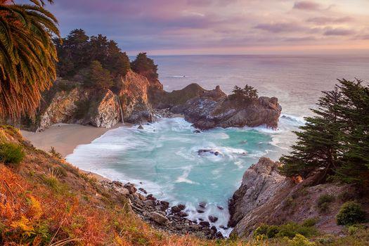 Julia Pfeiffer Burns State Park, waterfall McVeigh, California, Pacific coast, dusk, waterfall, Julia Pfeiffer State Park, seascape, sunset, rock, waves, trees